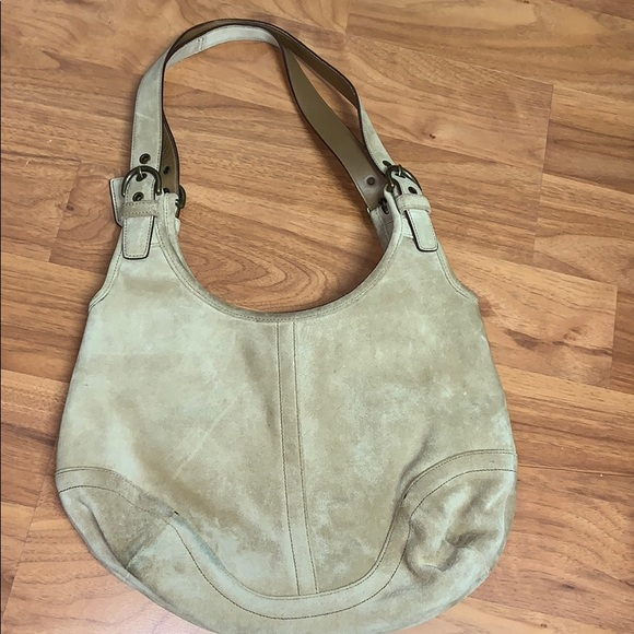Coach Handbags - Coach Camel Colored Suede Handbag Purse